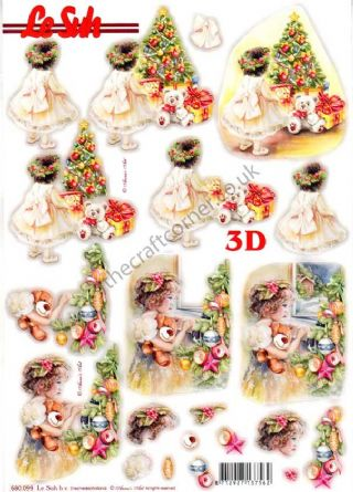 Christmas Girls Die Cut 3d Decoupage Sheet From Le Suh
